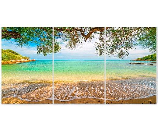 Kit 3 Quadros Decorativos Divididos - Praia Paradisíaca