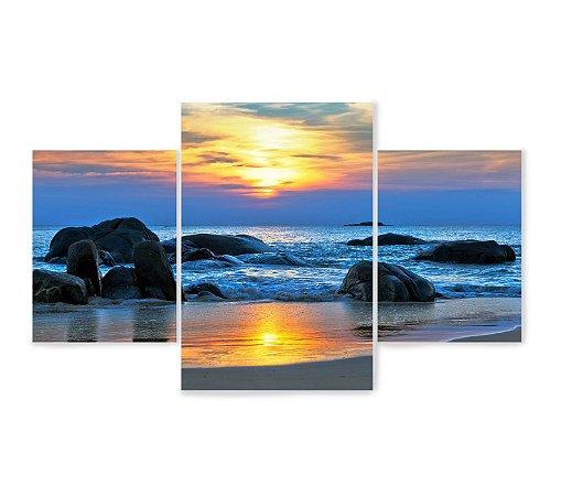 3 Quadros Decorativos Mosaico - Pedras do Mar