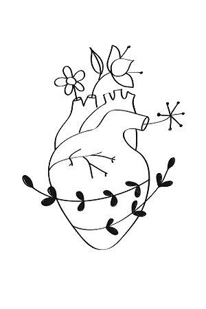 Quadro Minimalista - Coração Florido