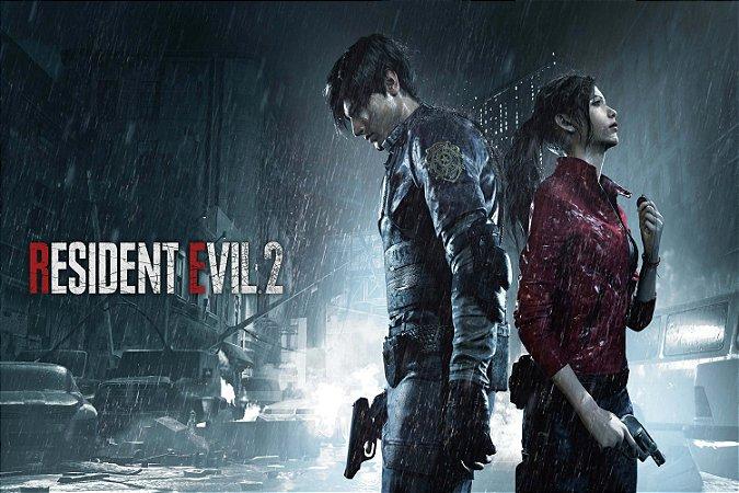Quadro Gamer Resident Evil 2 - Leon e Claire 2
