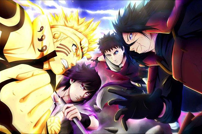 Quadro Naruto - Naruto e Sasuke vs Madara e Obito