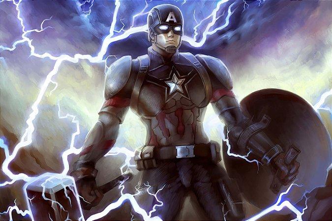 Quadro Capitão América - Martelo Mjolnir 2