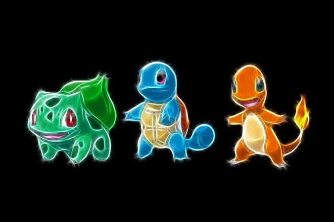 Quadro Pokémon - Bulbasaur, Squirtle e Charmander