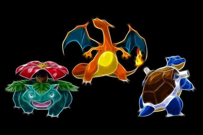 Quadro Pokémon - Venusaur, Charizard e Blastoise