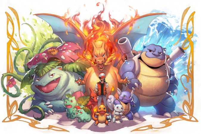 Quadro Pokémon - Evolução dos Pokémons Ash