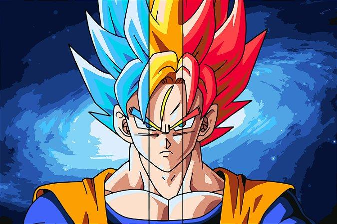 Quadro Dragon Ball - Goku Saiyajin Azul e Vermelho