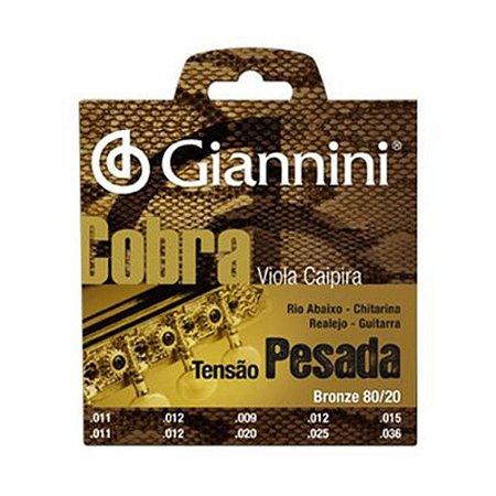 Encordoamento Viola Caipira Cebolao D Giannini Cobra Cv 82 M Bronze 80/20