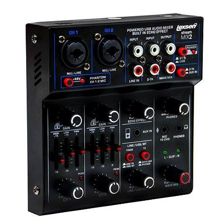 Mesa de Som com Interface de Audio e Bluetooth - Stream Mix 2 USB - Lexsen