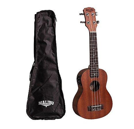 Ukulele Malibu Soprano 21 S E Sapele Eletrico Com Bag