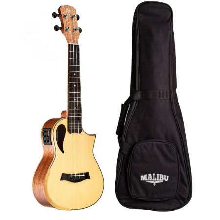 Ukulele Malibu Concert 23 SS 01 Halfcutway Eletrico Fosco C/Bag