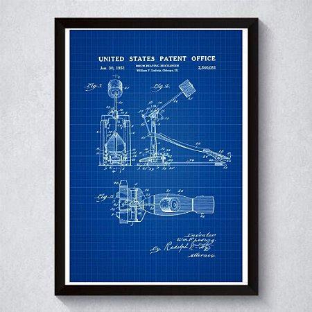 Quadro A3 Decorativo Personalizado - Patente de Pedal