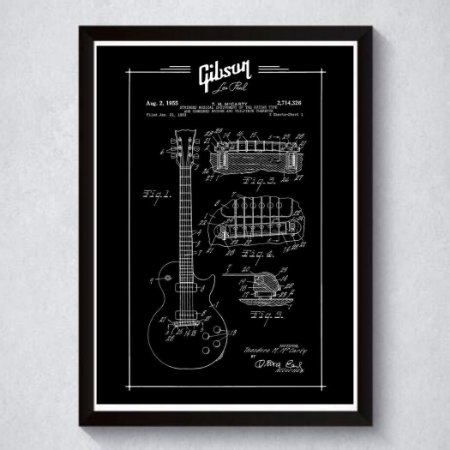 Quadro A4 Decorativo Personalizado - Patente Gibson (Bk)