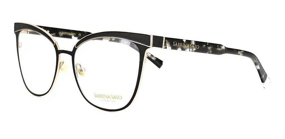 Óculos Armação Sabrina Sato Ss641 C1 Preto Com  Dourado