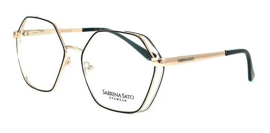 Óculos Armação Sabrina Sato Ss145 C1 Preto Com  Dourado