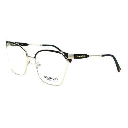 Óculos Armação Sabrina Sato SS147 C1 Prata com Preto Metal