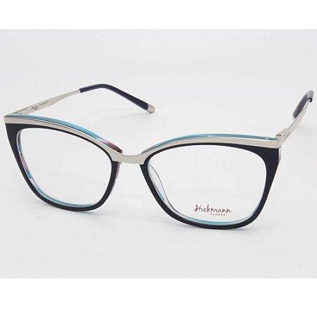 Óculos Armação Hickmann HI6061 H02 Azul com Prata Feminino