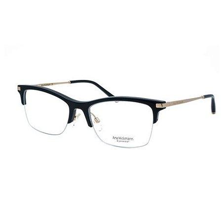 Óculos Armação Ana Hickmann AH6302 A02 Preto Haste Dourada