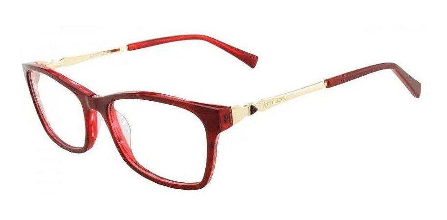 Óculos Armação Atitude Feminino Vermelho Dourado At6120l H02