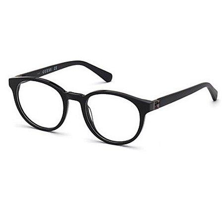 Óculos Armação Guess GU50020 001 Preto Brilho Acetato