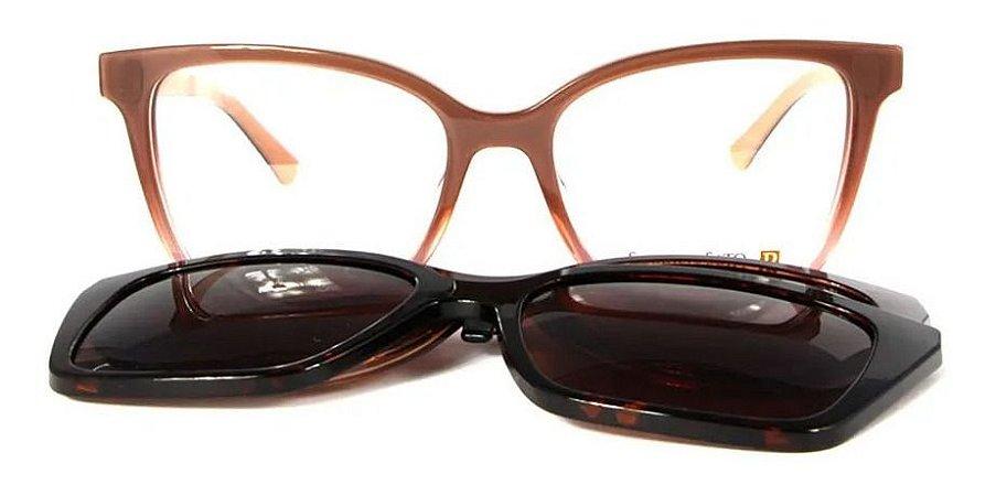 Óculos Armação Sabrina Sato Ss549 C4 Clip On Marrom Feminino