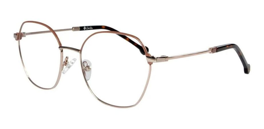 Óculos Armação Carmen Vitti 8002 C4 Dourado Com Nude Metal