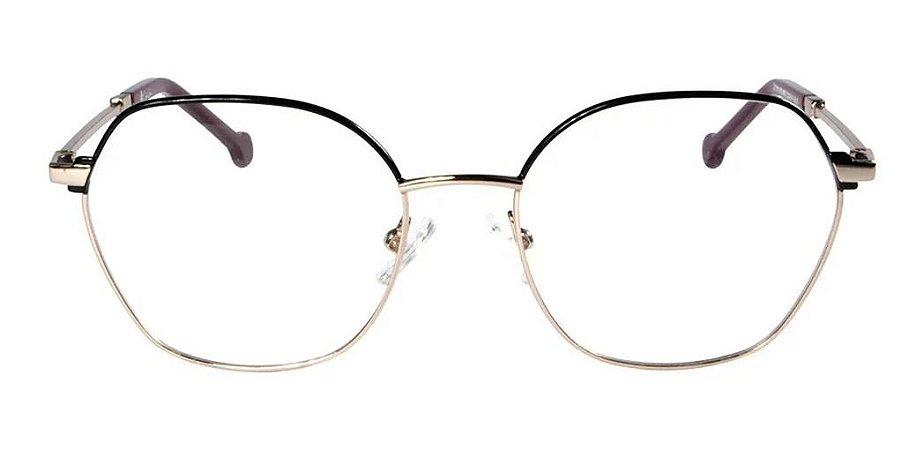 Óculos Armação Carmen Vitti 8002 C1 Dourado Com Preto Metal