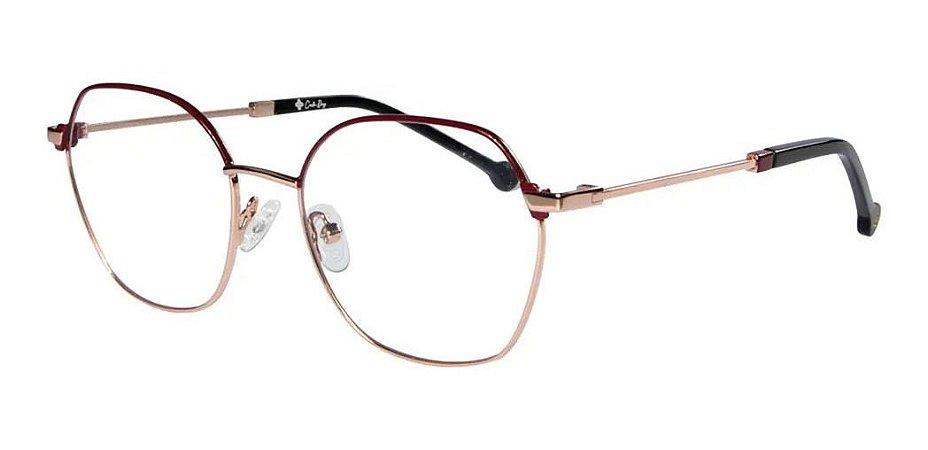 Óculos Armação Carmen Vitti 8002 C2 Dourado Com Vinho Metal