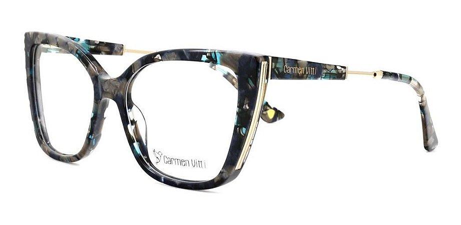 Óculos Armação Carmen Vitti Cv0182 C2 Verde Mesclado Cinza
