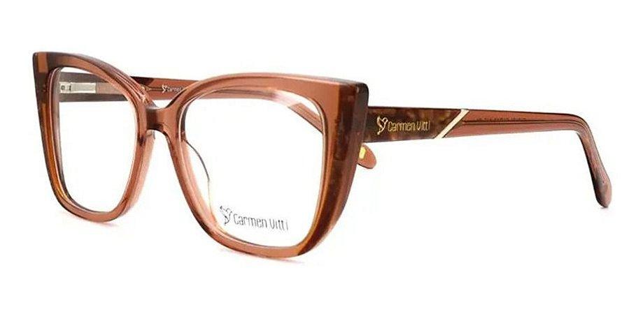 Óculos Armação Carmen Vitti Cv0161 C1 Marrom Translucido