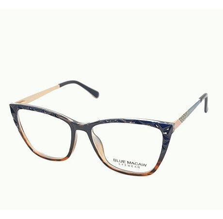 Óculos Armação Blue Macaw Fd633135 C4 Feminino Azul Demi