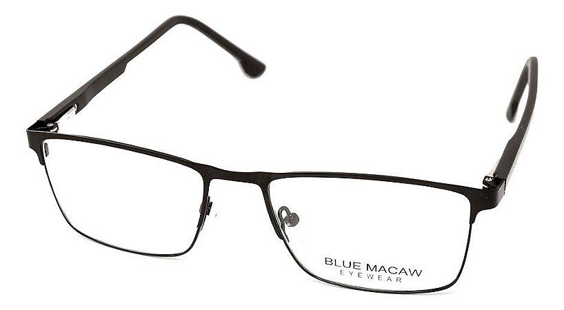 Óculos Armação Blue Macaw Zr-203 C4 Masculino Preto Fosco