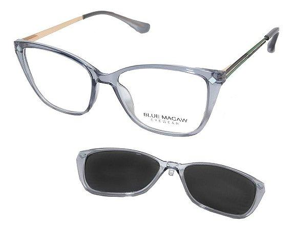 Óculos Armação Blue Macaw Tr90 5215 C03 Translucido Fume