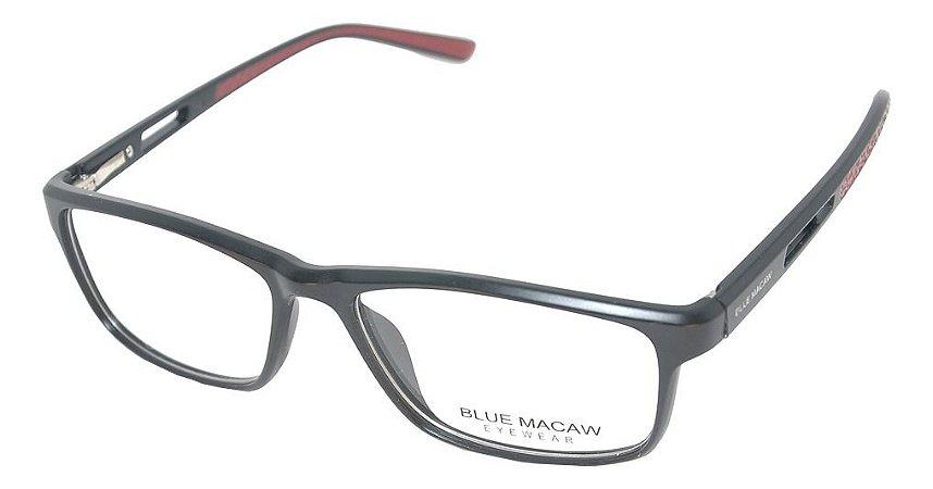Óculos Armação Blue Macaw W-001 C4 Masculino Preto Fosco