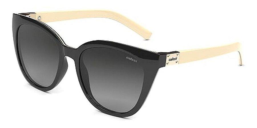 Óculos De Sol Colcci Jane Preto Branco Lente Escura Degrade