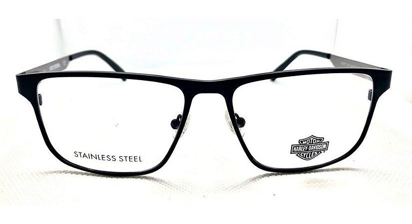 Óculos Armação Harley Davidson Hd0877 002 Metal Preto T55
