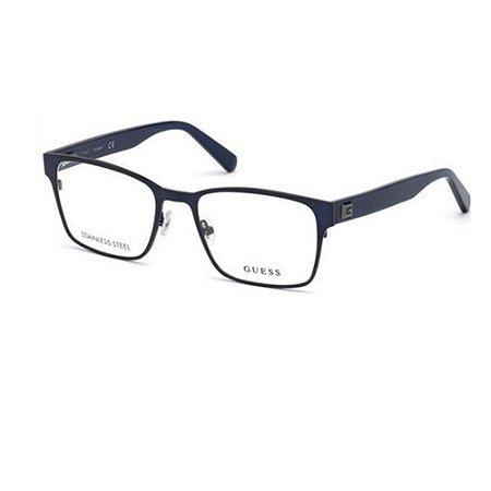 Óculos Armação Guess GU1994 091 Azul Metal Masculino