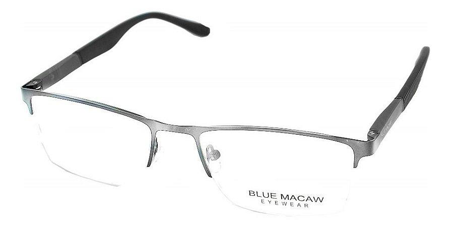 Óculos Armação Blue Macaw Zr-211 C5 Cinza Brilho Masculino