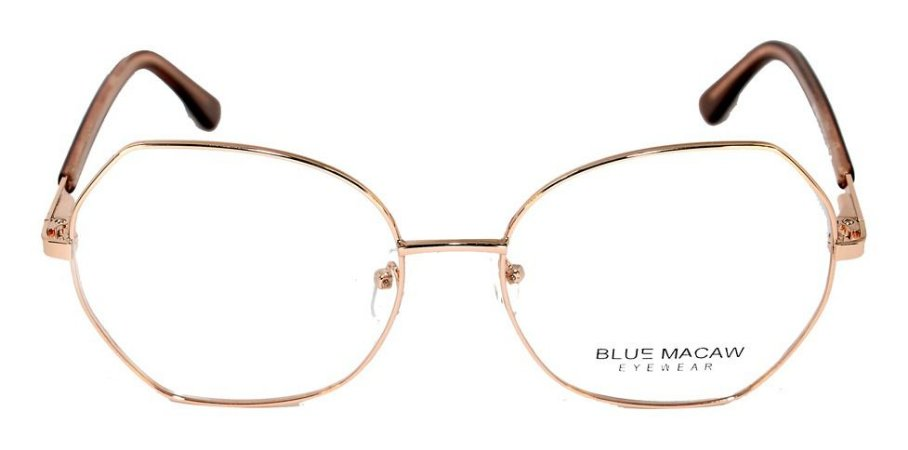 Óculos Armações Blue Macaw Mt6862 C4 Hexagonal Dourado