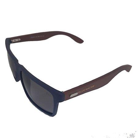 Óculos Solar Blue Macaw JC2205 C5 Azul Fosco Haste em Bambu