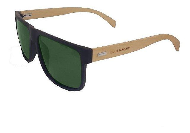 Óculos Solar Blue Macaw 7017 C7 Preto  Com Haste De Bambu