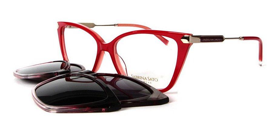 Óculos Armação Sabrina Sato Ss686 C2 Clip On Vermelho 3 Em 1