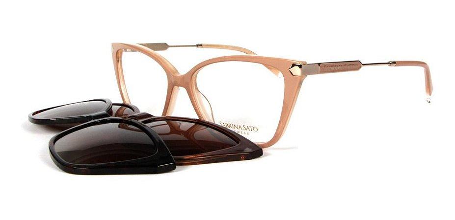 Óculos Armação Sabrina Sato Ss686 C3 Clip On Gatinho Bege