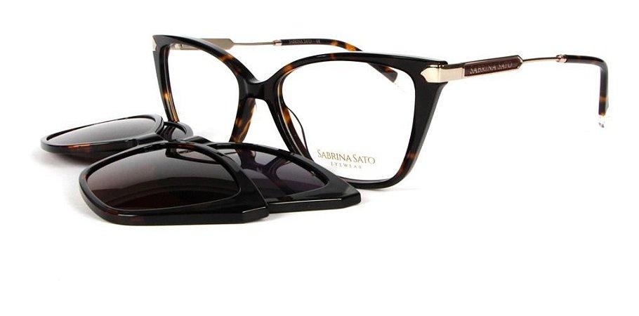 Óculos Armação Sabrina Sato Ss686 C4 Gatinho Marrom Mesclado