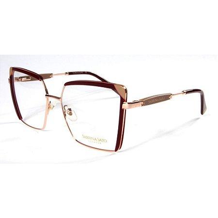 Óculos Armação Sabrina Sato SS668 C2 Quadrado Metal Bordo