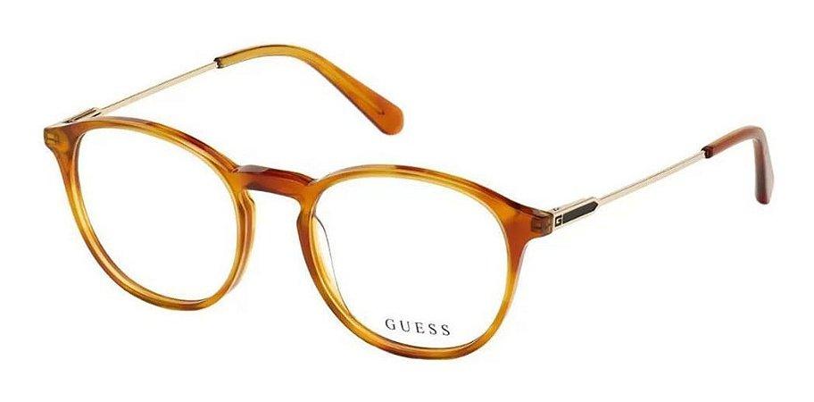 Óculos Armação Guess Gu1983 053 Caramelo Com Haste Dourada