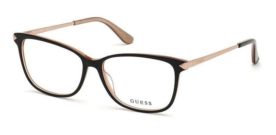 Óculos Armação Guess Feminino Preto Gu2754 001 Haste Metal