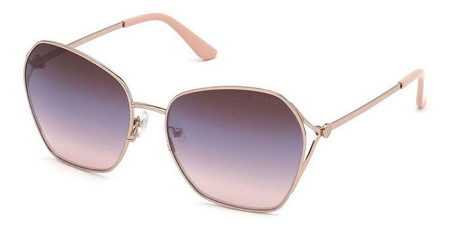 Óculos Solar Guess Gu7687 28c Rose Metal Feminino