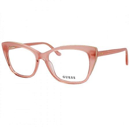 Óculos Armação Guess GU2852 059 Rosa Acetato Feminino
