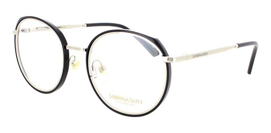 Óculos Armação Sabrina Sato Ss537 C1 Feminino Preto Prata