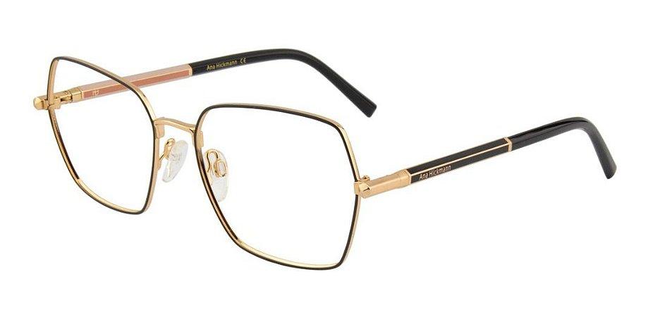 Óculos Armação Ana Hickmann Ah1391 09a Feminino Preto Gold